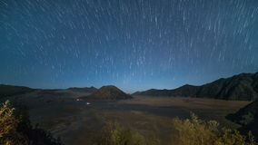 Star Trail Time Lapse at a Volcano - Mount Bromo, Indonesia stock video
