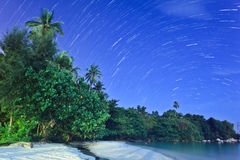 Star Trails. By the beach, Bintan, Indonesia Stock Photography