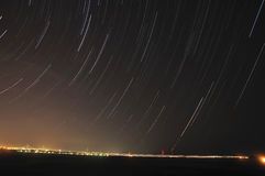 Star Trails. Over the City of Charleston SC stock images