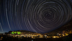 Star trails. Over Ermenek / Karaman / Turkey. this shot was sampled of 500shots (took over 4 hours Stock Photo