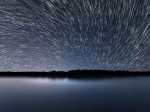 Star Trails, Beautiful Blue Night reflection Stock Photography