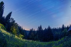 Star trails. In Beskidy mountains, Poland royalty free stock image