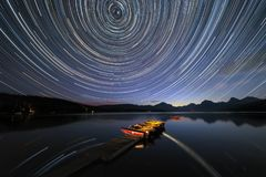 Star Trails at Glacier National Park royalty free stock images