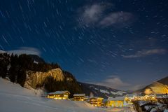 Free Star Trails In The Sky During A Clear Winter Night Stock Photography - 110869652