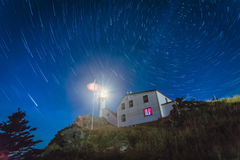 Star Trails, Lobster Cove Head Lighthouse royalty free stock photos