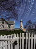 Star trails at Marblehead lighthouse in Ohio Stock Photos