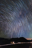 Star trails and Milky way over Bromo Mountain Java ,Indonesia. Royalty Free Stock Images