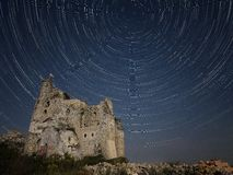 Star trails. Mirów Castle Stock Image
