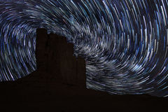 Star Trails in Monument Valley Navajo Nation Arizona Stock Image