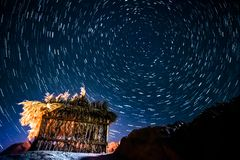 Star trails in Dahab Egypt stock images