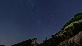 Star trails in the mountains stock footage