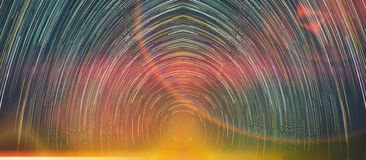 Star trails movement at night with abstract fantasy light. Royalty Free Stock Image