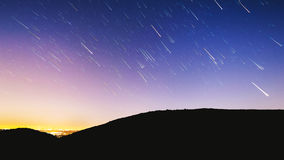 Star trails in night sky Royalty Free Stock Image