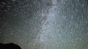 Star Trails Night Sky Cosmos Galaxy Time-lapse over plateau on Kackar Mountains, Turkey. Star Trails Night Sky Cosmos Galaxy Time-lapse over plateau on Kackar stock video