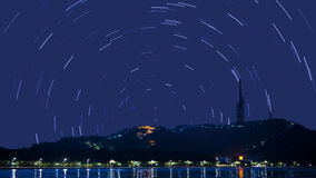 Star trails in night sky Royalty Free Stock Photo