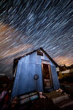 Star trails in old mining town Stock Photos