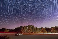 Star trails over Broemmelsiek Park, Near St Louis, Mis. A time lapse exposure showing star trails over Broemmelsiek Park, St Charles County Parks and Recreation Royalty Free Stock Photo