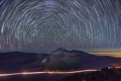Star trails over Bromo Mountain Java ,Indonesia. Royalty Free Stock Photos