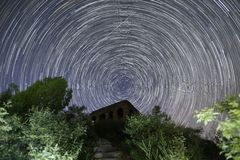 Star trails  over the general watch tower Royalty Free Stock Images