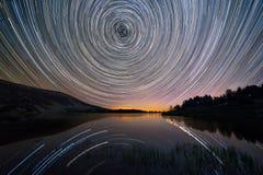 Star trails over Laguna Grande in neila, Burgos