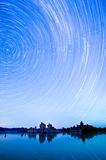 Star Trails over Mono Lake. One hour sections of light and star trails over Mono Lake tufas Royalty Free Stock Photo