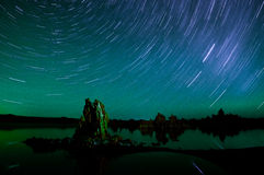 Star Trails over Mono Lake Royalty Free Stock Photos