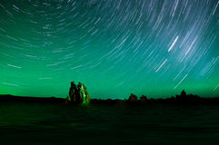 Star Trails over Mono Lake Stock Image