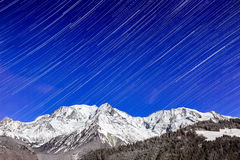 Star Trails Over Mont Blanc Royalty Free Stock Images