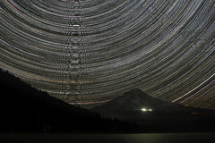 Star Trails Over Mount Hood Stock Photo