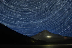 Star Trails Over Mount Hood Royalty Free Stock Images