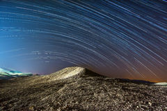Star trails over the mountains of the Dead Sea - Israel Stock Images