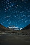 Star trails over Mt.Everest. Star trails over Mt. Everest, Tibet Royalty Free Stock Photo