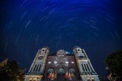 Star Trails over Ontario Legislative Buildings Royalty Free Stock Photos