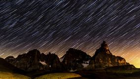 Star trails over Pale di San Martino, Dolomites - Italy stock footage
