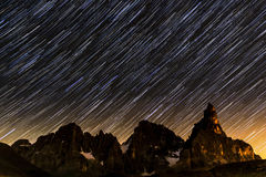 Star trails over Pale di St.Martino Royalty Free Stock Photos