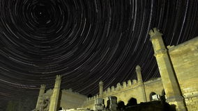 Star Trails Over Scenic Abandoned Ruin of Building
