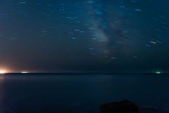 Star trails over sea Royalty Free Stock Photography