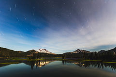 Star Trails Over Sparks Lake Stock Image