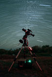 Star Trails over the Telescope Stock Photography