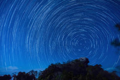 Star trails at Pha Hua Sing cliff Royalty Free Stock Image