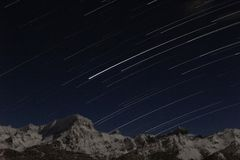 Star Trails In The Mountains Royalty Free Stock Images