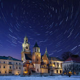 Krakow - Star Trails - Royal Cathedral - Poland Royalty Free Stock Photos