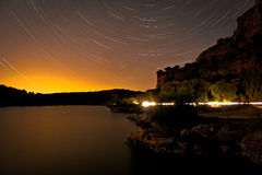 Star-trails in Ruidera Royalty Free Stock Image