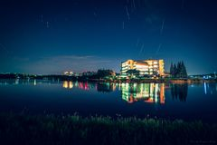 Star trails on 20181017 in Sichuan University. Startrails in Sichuan University shot near Mingyuan lake in cold winter night royalty free stock image