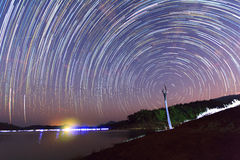 Star trails. On the sky Stock Image