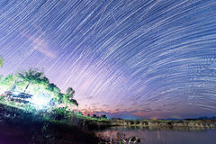 Star trails. On the sky Stock Photography