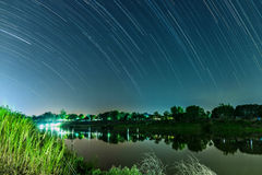 Star trails on the sky Royalty Free Stock Images