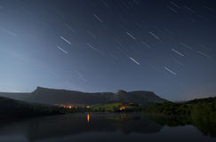 Star trails in the sky. Night Stock Photo