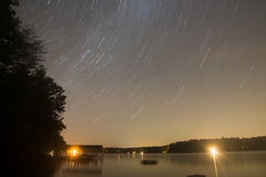 Star Trails over the lake Royalty Free Stock Images