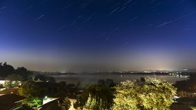 Star trails on the Varese lake stock video